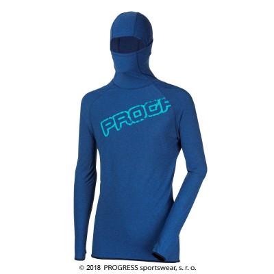 Progress FOCUS pánský sportovní pulovr s kapucí modrý melír