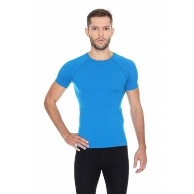 Brubeck pánské tričko s krátkým rukávem Active wool modré
