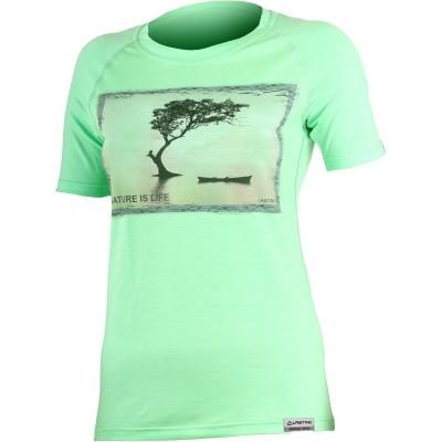 Lasting Dámské 100%merino tričko s tiskem LAKE zelené 6161
