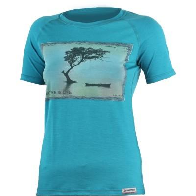 Lasting Dámské 100%merino tričko s tiskem LAKE modré 5858