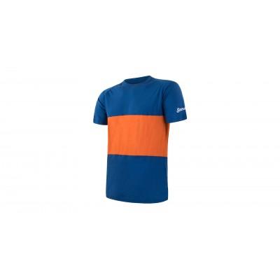 MERINO AIR PT pánské triko kr.rukáv modrá/oranžová