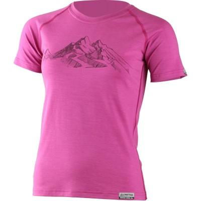 Lasting dámské merino triko s tiskem HILA 4848 růžová