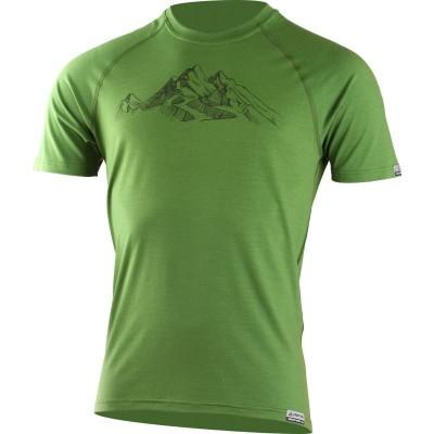 Lasting pánské merino triko s tiskem HILL zelené 6060