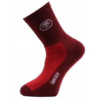 Ponožky SURTEX 80% merino - volný lem červená