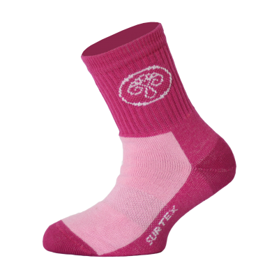 SURTEX DĚTSKÉ Ponožky 80% merino - volný lem růžová