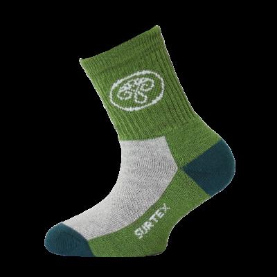 SURTEX DĚTSKÉ Ponožky 80% merino - volný lem zelená