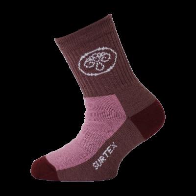 SURTEX DĚTSKÉ Ponožky 80% merino - volný lem vínová