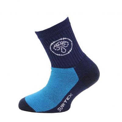 SURTEX DĚTSKÉ Ponožky 80% merino - volný lem tm.modrá/modrá