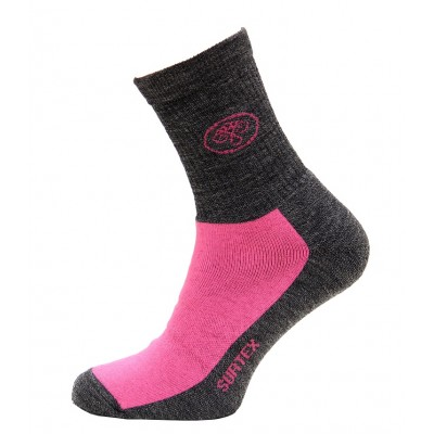 Ponožky SURTEX 80% merino - volný lem růžová šedý melír