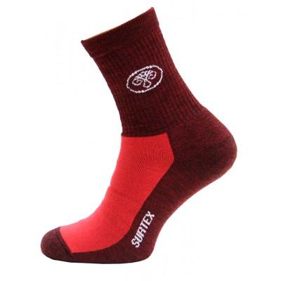 Ponožky SURTEX 80% merino - volný lem červená červený melír