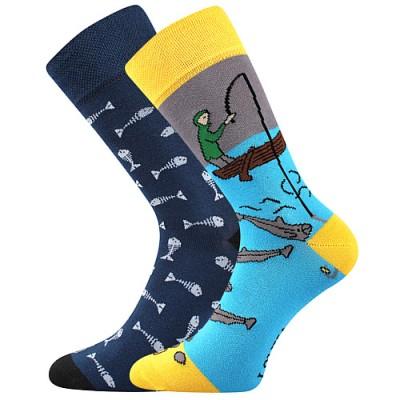 Ponožky Lonka Doble MIX J rybí kostry+rybář