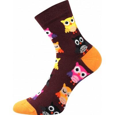 Ponožky Lonka Dedot MIX D sovičky vínová