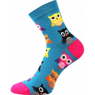 Ponožky Lonka Dedot MIX D sovičky petrolejová