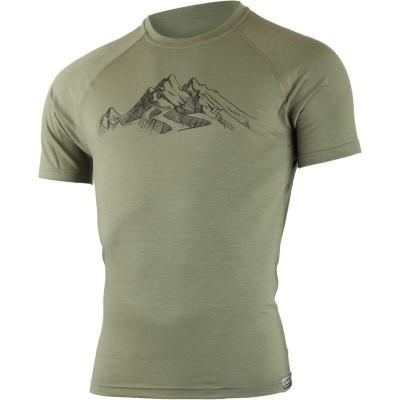 Lasting pánské merino triko s tiskem HILL zelené 6666