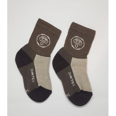 SURTEX DĚTSKÉ Ponožky 80% merino - volný lem hnědá