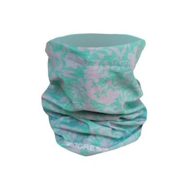 Progress TUBE funkční šátek tubus mint-šedá floral