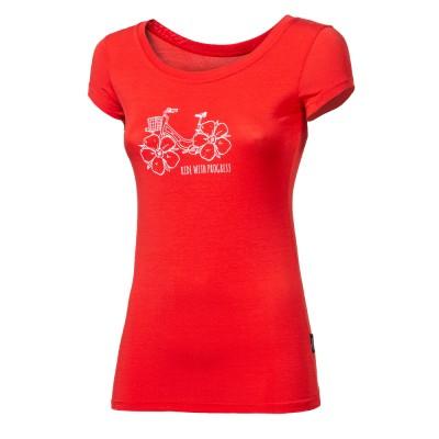 """PROGRESS LIBERTA """"FLOWBIKE"""" dámské triko s bambusem červená"""