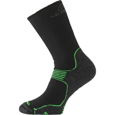 Merino ponožky WSB 906 černá/zelená