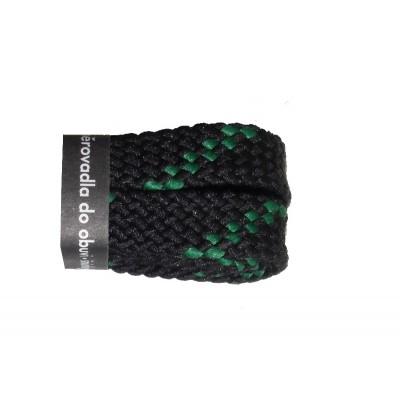 VTR Trekkingové tkaničky ploché černo/zelené