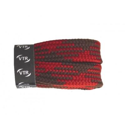 VTR Trekkingové tkaničky křížové ploché červeno/hnědé