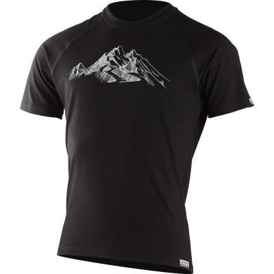Lasting pánské merino triko s tiskem HILL černé 9090