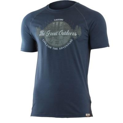 Lasting pánské merino triko s tiskem LUCAS 5656 modrá