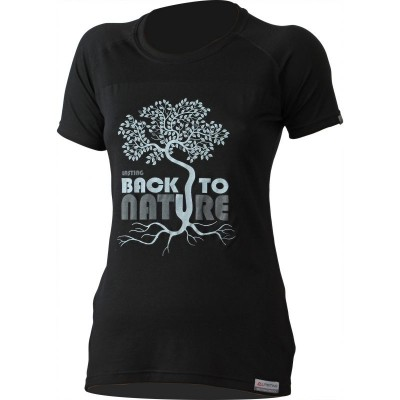 Lasting dámské merino triko s tiskem BACK 9090 černá